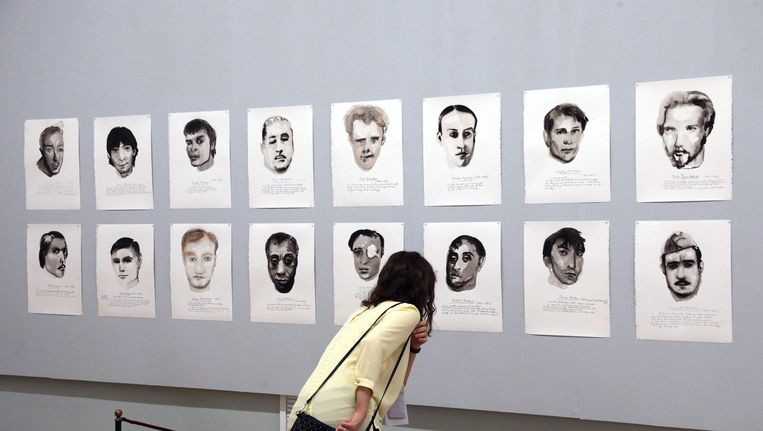 Great Men, een werk van Marlene Dumas, was afgelopen juni te bezichtigen in de Hermitage in Sint Petersburg. Beeld epa