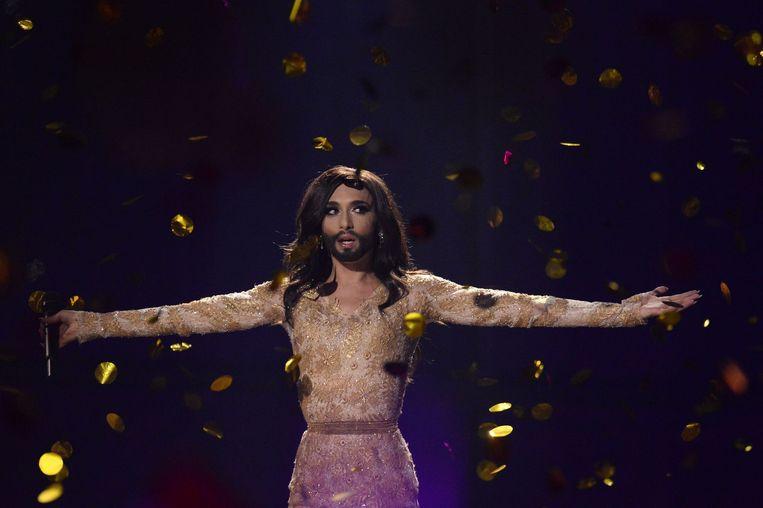 Conchita Wurst was voor veel landen favoriet met haar nummer Rise like a phoenix. Beeld ANP
