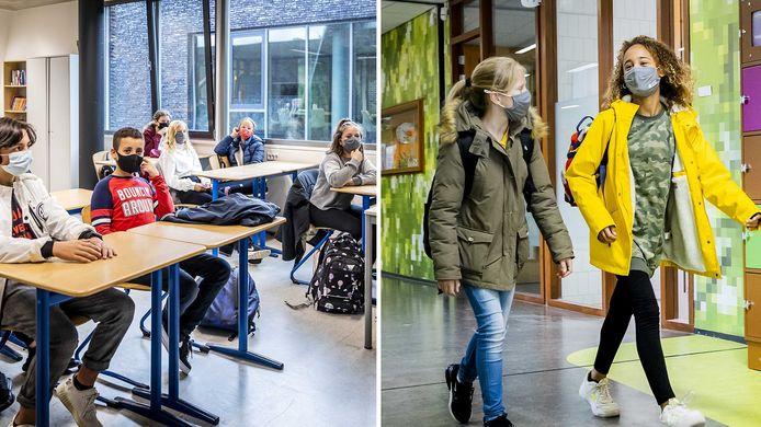 De middelbare scholen zijn open, met flink wat beperkingen. Zo moeten leerlingen mondkapjes dragen en moeten ze anderhalve meter afstand houden.