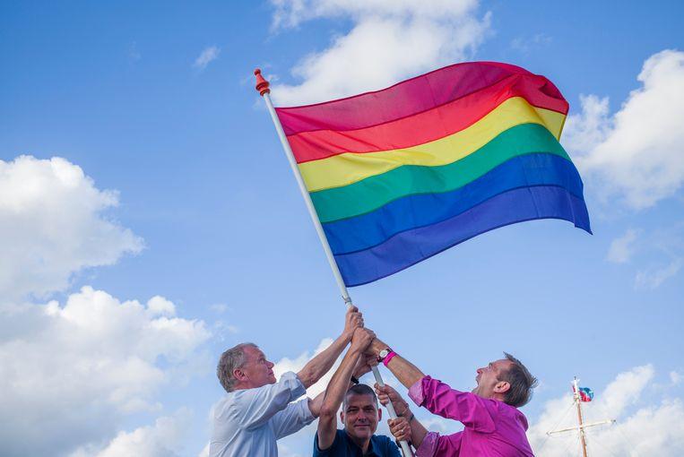 De drie oprichters van de Pride Amsterdam: Ernst Verhoeven, Peter Kramer en Siep de Haan, 2015. Beeld Cris Toala Olivares
