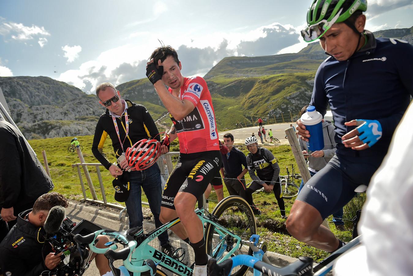 Primoz Roglic en Nairo Quintana voor de etappe van vorige week vrijdag van Bilbao naar Los Machucos.