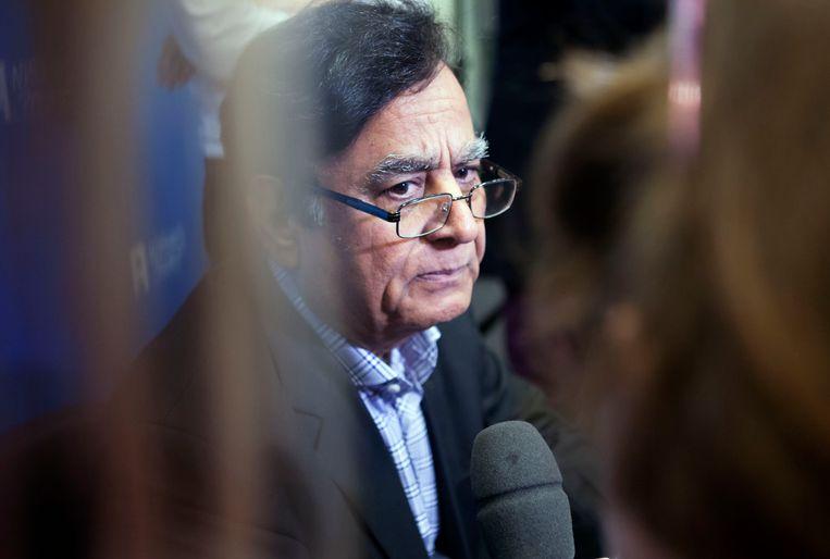 De persconferentie in Nieuwspoort van advocaat Saif-ul-Malook, de advocaat van Asia Bibi. Beeld Maarten Hartman