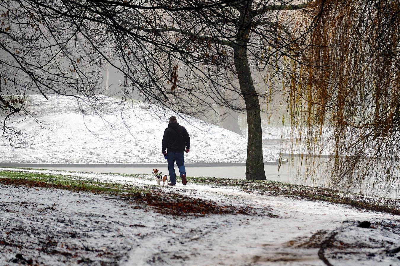 Wakker worden met sneeuw, maar de hond moet wel uitgelaten worden in Burgemeester Coenenpark.