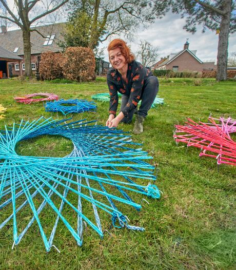 Meer dan 350 mensen breien met Het Netwerk van Carin Simons samen aan een kleurrijk lijnenspel