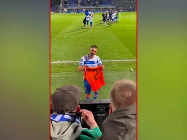 Supporter Bart ruilt shirtje met PEC-aanvoerder Bram van Polen