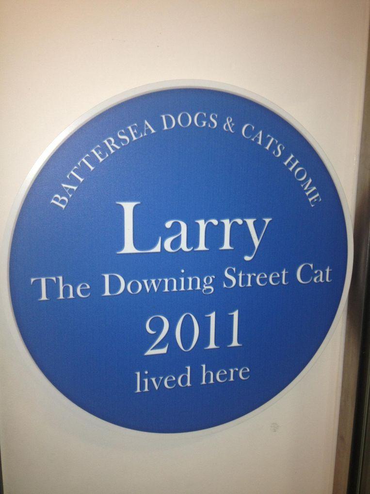 Larry werd zo beroemd dat hij een blauwe gevelsteen in de Battersea Dogs and Cats Home kreeg. Beeld Flickr / Great Patsby
