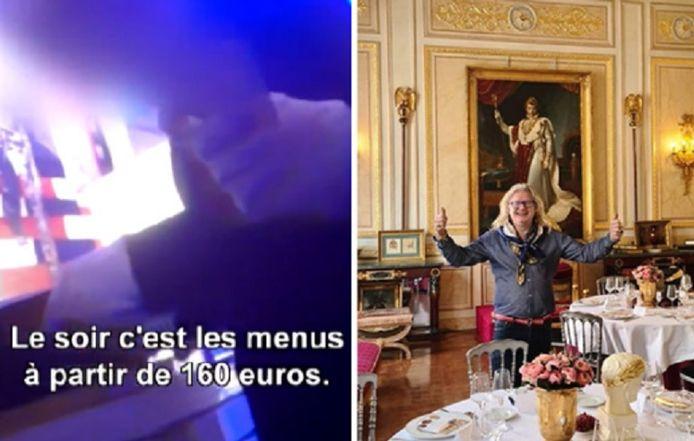 Links: een beeld van het privéfeest. Rechts: Pierre-Jean Chalençon, de vermoedelijke organisator. Uit de reportage blijkt dat er elke middag en elke avond druk getafeld wordt in het restaurant van de organisator.