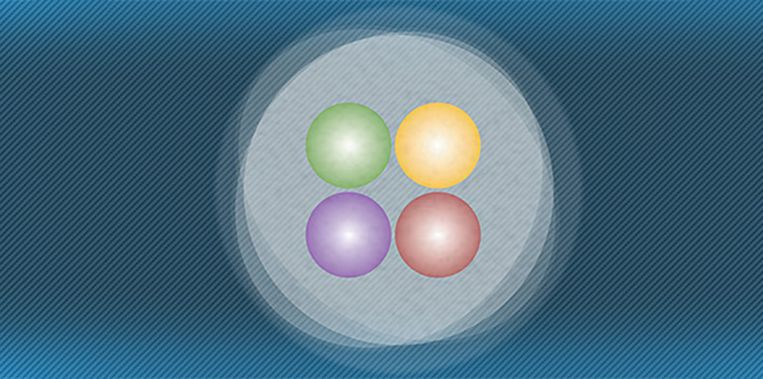 Tetraquark, op gebouwd uit vier verschillende quarks en zo zwaar als zes waterstofkernen. Beeld FNAL