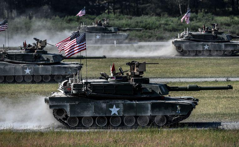 Een Amerikaanse tank bij een oefening in Duitsland. Beeld Hollandse Hoogte/EPA