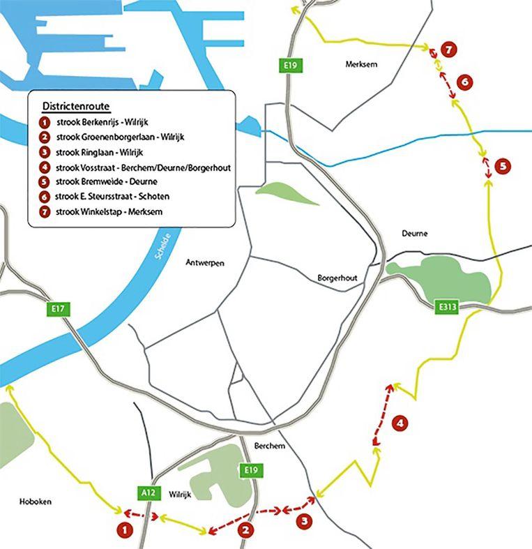 De kaart toont de districtenfietsroute.
