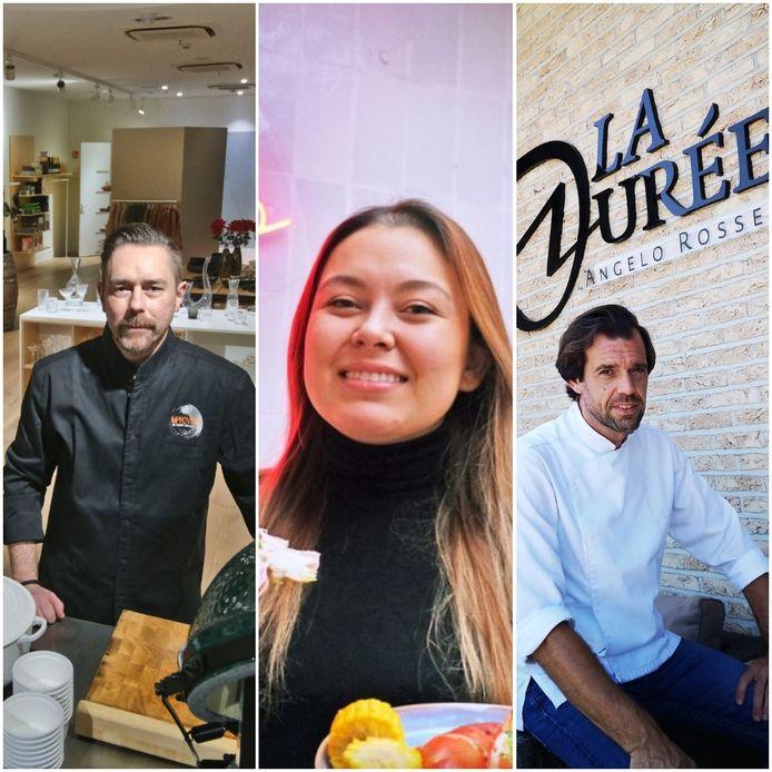 Chef David Selen van Improviste, Sarah Van Steenkiste van Sailor Seafood en Angelo Rosseel van La Durée.