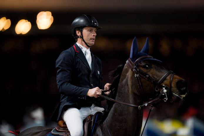 Leopold van Asten eind 2019 in actie met zijn toppaard VDL Groep Miss Untouchable tijdens een wedstrijd in België.