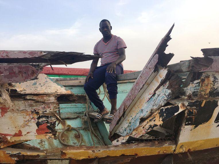 De Senegalees Assane Diallo in november 2018, voordat hij de oversteek van zijn land naar de Canarische Eilanden zal maken. Beeld REUTERS