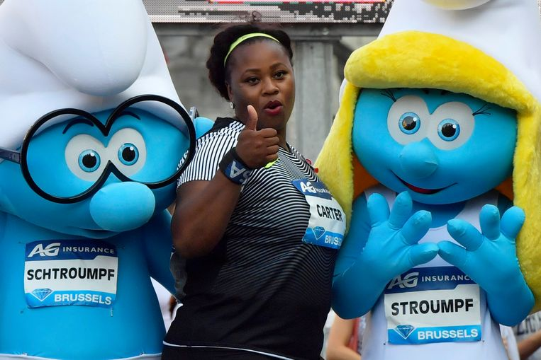 BRUSSELS, BELGIUM - SEPTEMBER 08 : winner Michelle Carter of the USA celebrates the victory after the shot put competition of the Diamond League Memorial Van Damme at the Grand Place of Brussels on September 08, 2016 in Anderlecht, Belgium , 8/09/2016 ( Photo by Peter De Voecht / Photonews Beeld Photo News
