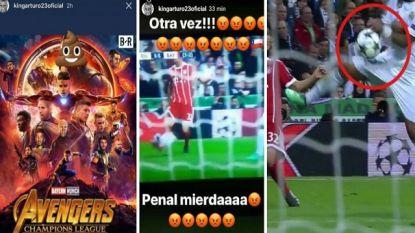 """Gefrustreerde Vidal vervangt gezicht Ronaldo door 'lachend kakske' en maakt zich kwaad om niet gefloten handsbal, terwijl Marcelo toegeeft: """"Het was penalty"""""""