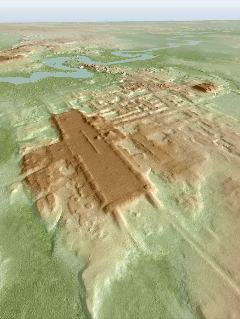 3D-afbeelding van Aguada Fenix, gemaakt met lasersysteem Lidar. Beeld Takeshi Inomata