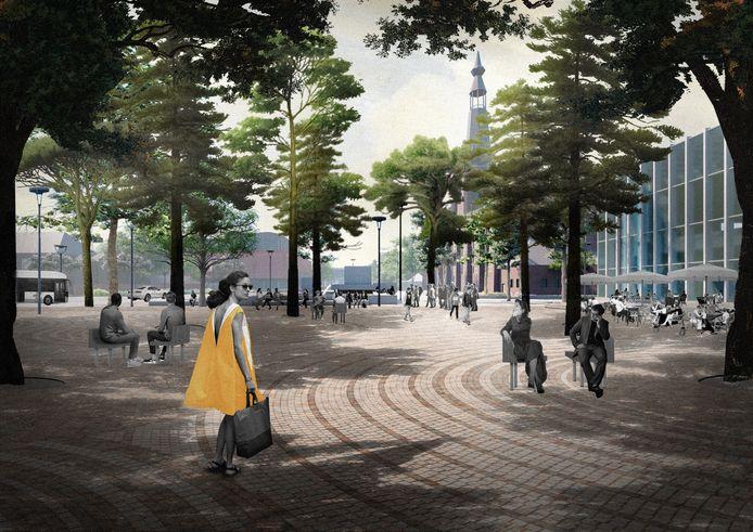 Een impressie van het nieuwe Willemsplein, gezien vanaf het Paleis-Raadhuis.