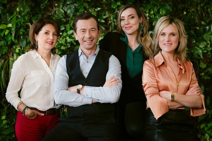 Cette année, l'équipe d'experts est composée (de gauche à droite) de la sexologue et andrologue Catherine Solano, du spécialiste de la compatibilité amoureuse Jean-Luc Beaumont, de la psychothérapeute et coach Céline Delfosse et de la sociologue Audrey Van Ouytsel.