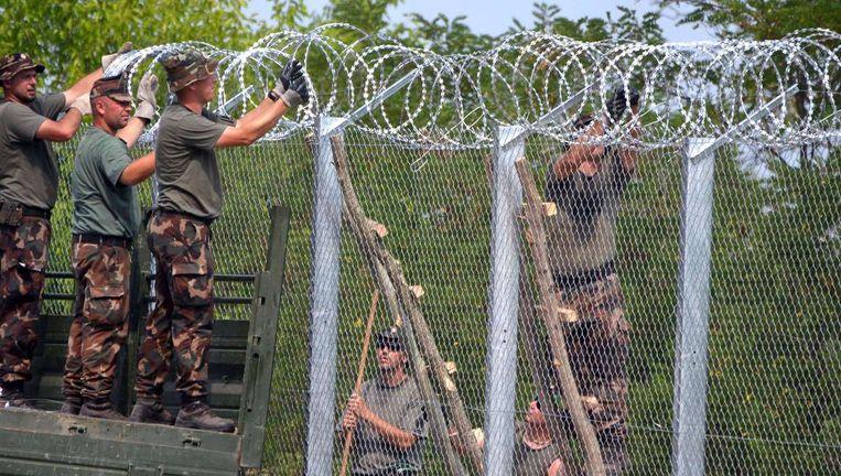Soldaten bouwen een hek op de grens tussen Hongarije en Servië. Veel vluchtelingen uit Syrië, Afghanistan en Kosovo gaan deze grens over. Beeld afp