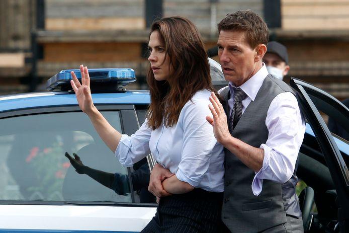 Tom Cruise et Hayley Atwell sur le tournage du prochain Mission Impossible, à Rome (archives, 2020)