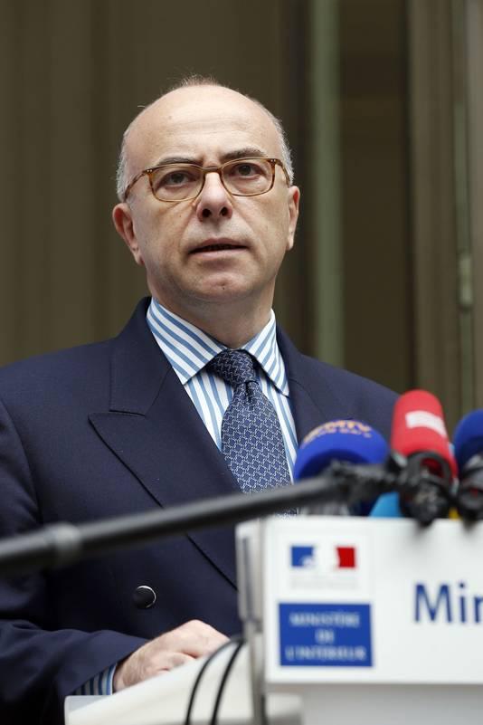 De Franse minister van Binnenlandse Zaken, Bernard Cazeneuve, vandaag op een persconferentie