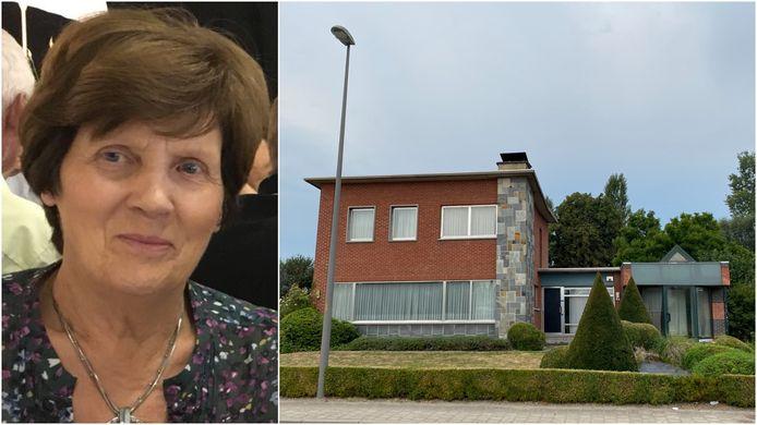 TISSELT - Maria Van den Broeck (links) werd in haar woning (rechts) langs de Jozef de Blockstraat aangevallen door een onbekende man Ze liep ernstige verwondingen op en bezweek ruim een maand later in het ziekenhuis