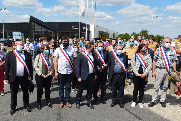 Protest tegen de verplaatsing van een fabriek van Renault; het bedrijf zit in de problemen door de coronacrisis. Beeld AFP