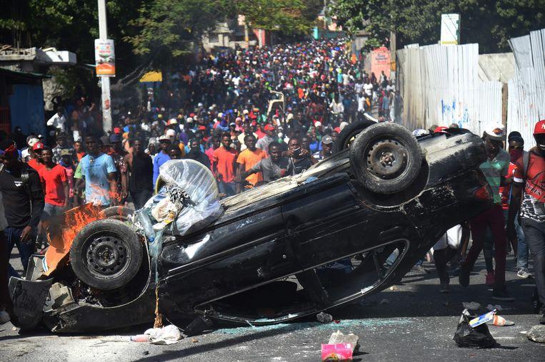 Protesten in de Haïtiaanse hoofdstad Port-au-Prince. Beeld AFP