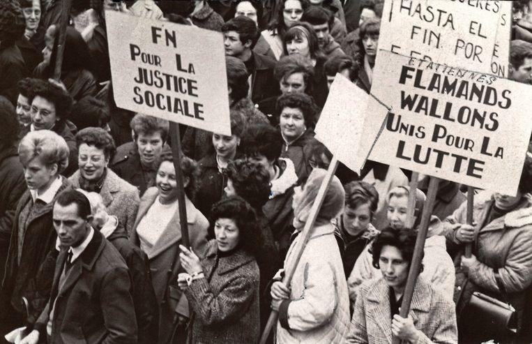 1936: sociaal protest voor betaald verlof en andere arbeidersrechten. Beeld Solidair