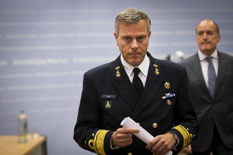 Plaatsvervangend Commandant der Strijdkrachten, viceadmiraal Rob Bauer tijdens de persconferentie. Beeld anp