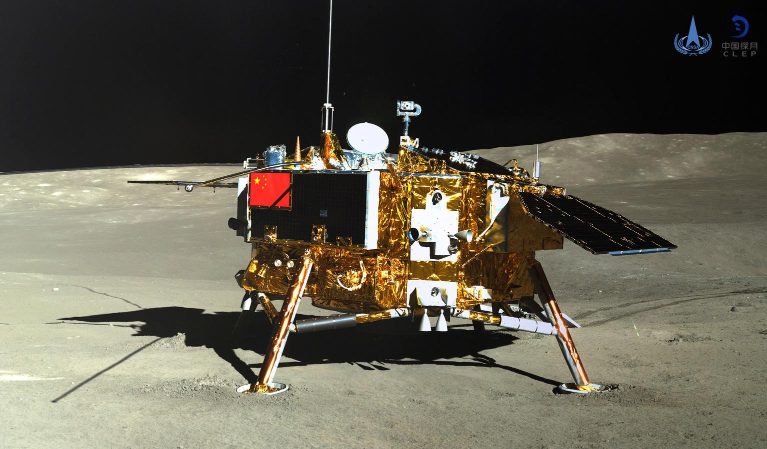 De Chinese maanlander Chang'e-4 bezocht dit jaar de achterzijde van de maan.