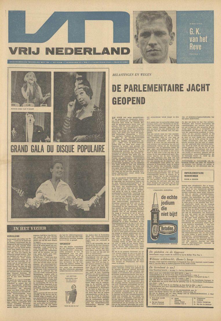 Voorpagina van Vrij Nederland, 10 oktober 1964. Beeld