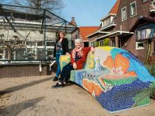 Een bankje met 50.000 (!) mozaïeksteentjes vrolijkt Goudse wijk op