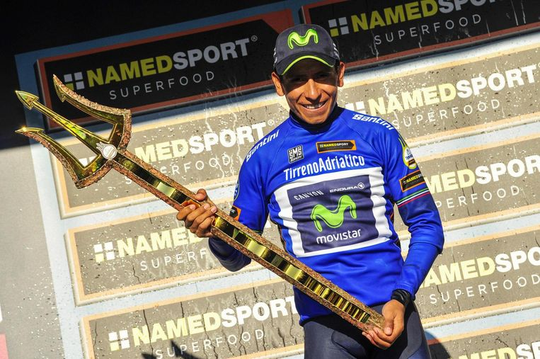 Nairo Quintana won vorig jaar de Tirreno Adriatico Beeld epa
