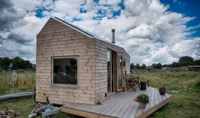 Een Tiny house in Someren-Heide. Tiel krijgt dergelijke huisjes nog niet.