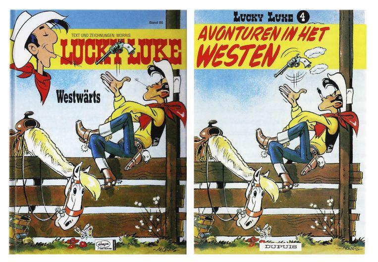 Lucky Luke zoals we hem kennen (rechts) en met strootje in plaats van peuk (links). Beeld