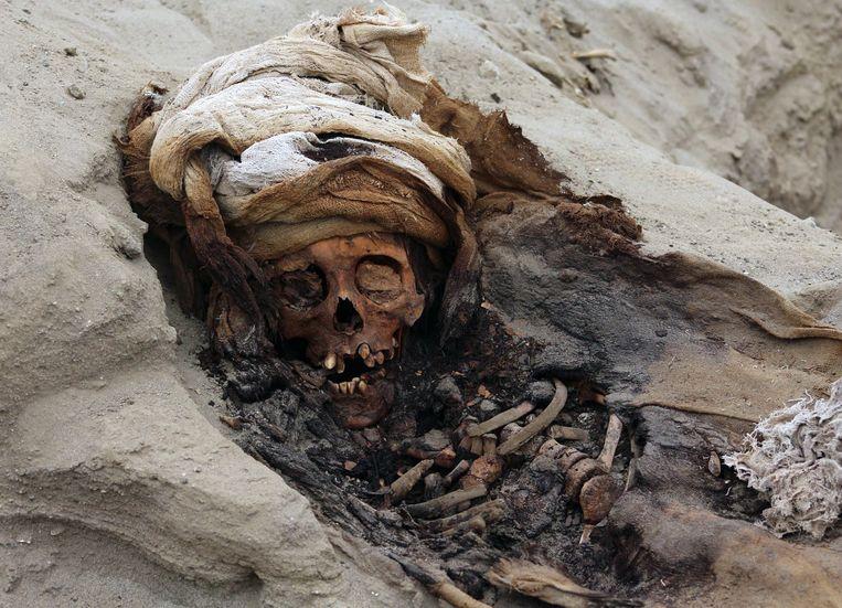 Een van de kinderskeletten in het massagraf in Noord-Peru. Beeld Luis Puell / AFP