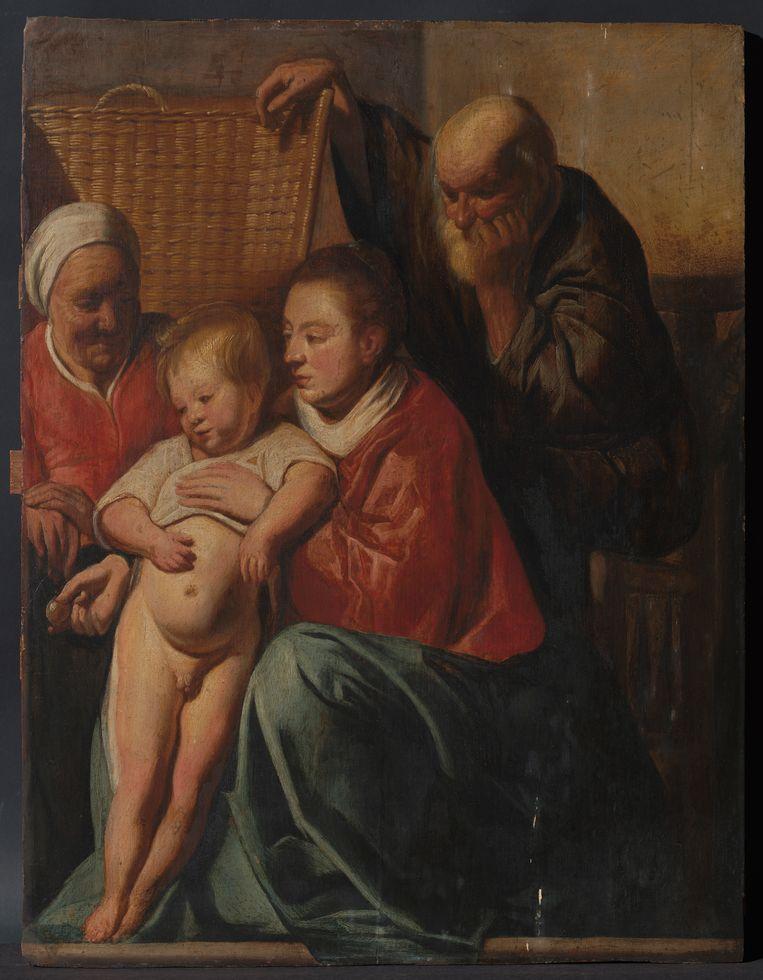 'De heilige familie' van barokmeester Jacob Jordaens hing bijna 60 jaar in het kantoor van de schepen voor Stedenbouw en werd al die tijd beschouwd als een kopie. Beeld BELGA_HANDOUT