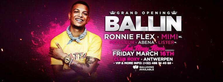 De flyer van het bewuste feest Ballin, waar onder meer de Nederlandse rapper Ronnie Flex optrad.