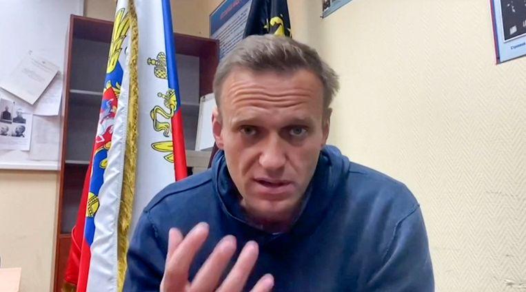 De Russische oppositieleider Aleksej Navalny, in een YouTube-filmpje begin dit jaar werd vrijgegeven.  Beeld AFP