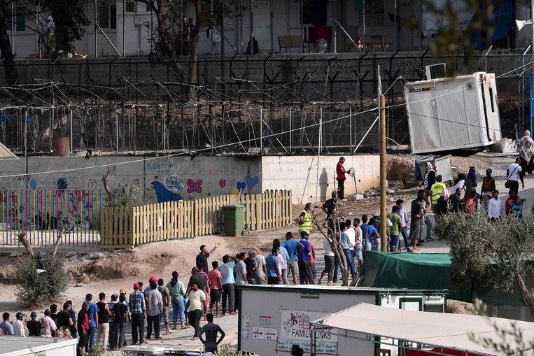 De evacuatie van vluchtelingen uit het Moria kamp, eerder deze maand. Beeld afp