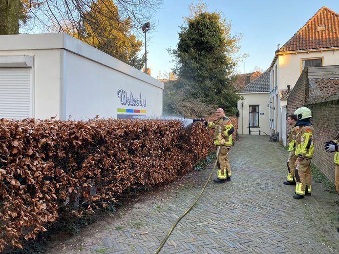 De brandweer had de vlammen in de heg snel onder controle.