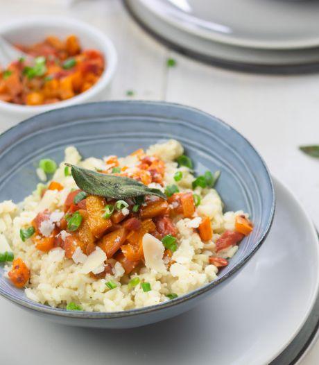 Wat Eten We Vandaag: Risotto met fruitige salsa van nectarine en gefrituurde salie