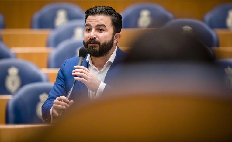 Selçuk Öztürk (Denk) tijdens een debat in de Tweede Kamer. Beeld ANP