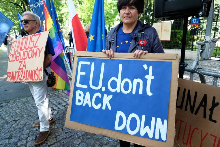 Critici van de Poolse regering verzamelden zich dinsdag voor het Constitutioneel Hof in Warschau. Beeld  Reuters