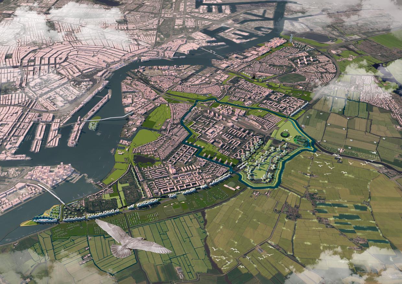 Rond de A10 is ruimte voor 10.000 huizen, een wijk zo groot als IJburg, zegt Bas Kok, één van de bedenkers van het plan. Beeld  Artist's impression Xoomlab