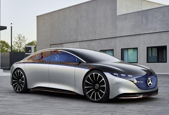 De conceptauto Mercedes-Benz Vision EQS blikt alvast vooruit naar een volledig elektrische Mercedes S-klasse.