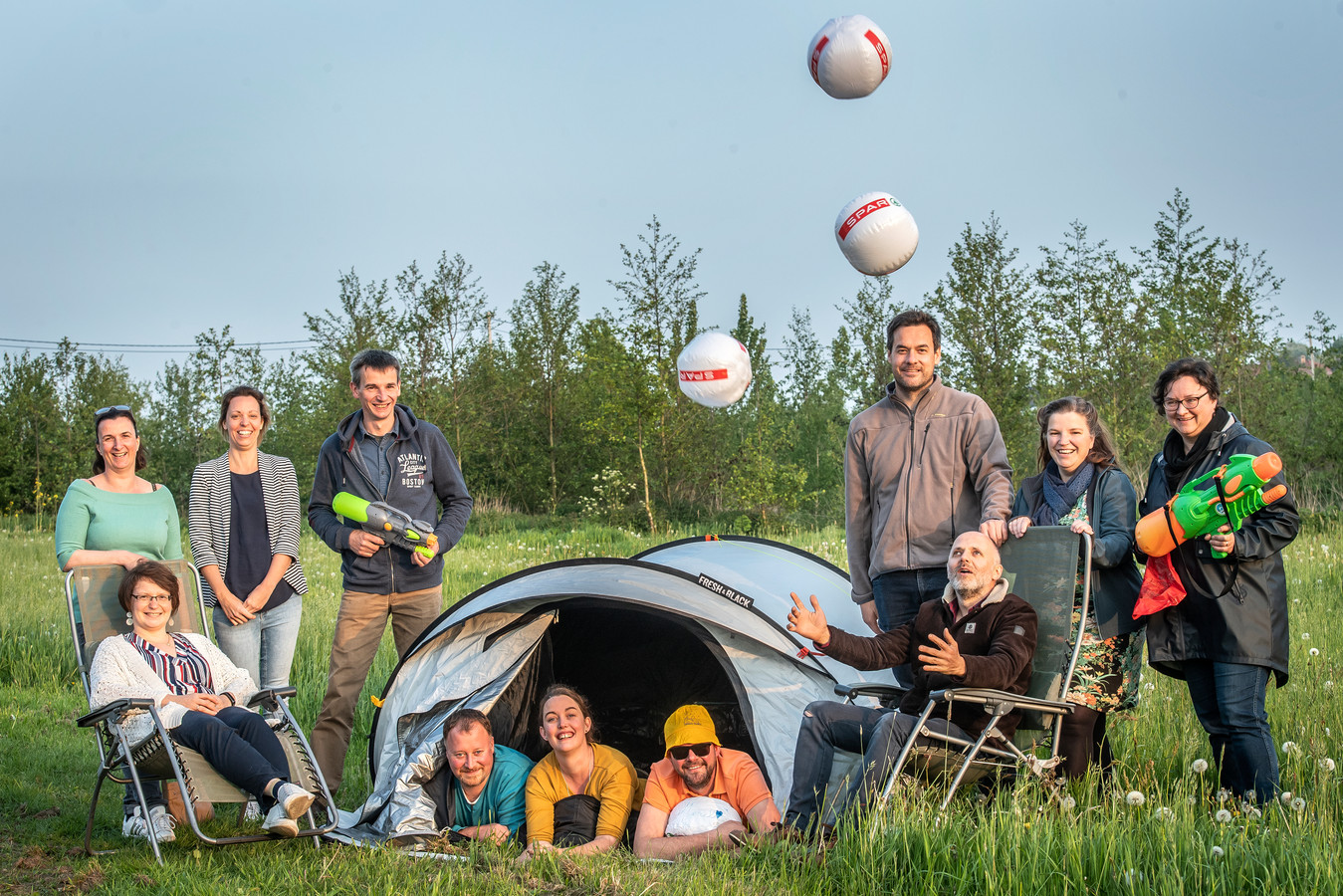 De organiserende werkgroep in precoronatijden. Er is ook in 2021 geen nieuwe editie van camping Eugène, maar de werkgroep komt wel met een alternatief op 19 september.