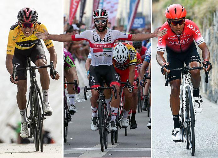 Vlnr: Egan Bernal, Fernardo Gaviria en Nairo Quintana.