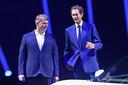 Archiefbeeld. Michael Manley (L) en John Elkann tijdens een presentatie van de nieuwe sportwagen van Italiaans luxemerk Maserati.